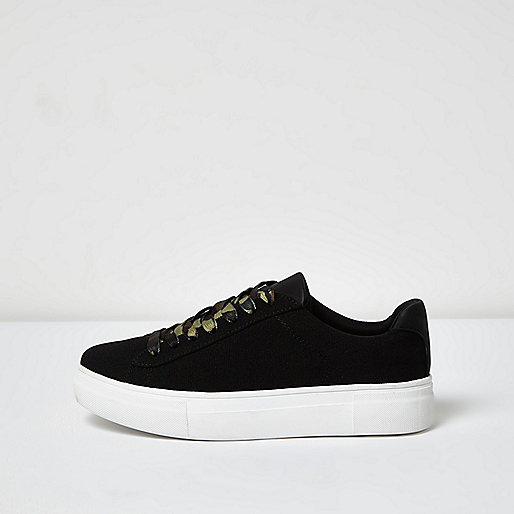 Black camo lace-up platform sneakers