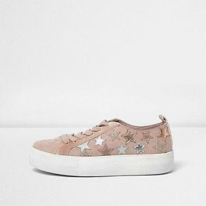 Roze sneakers met glitters en sterren