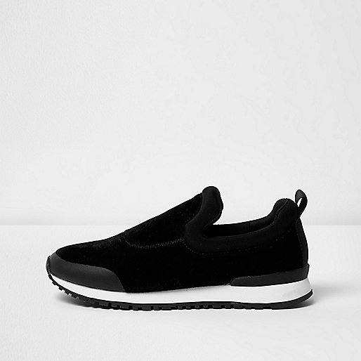 Black slip on runner sneakers