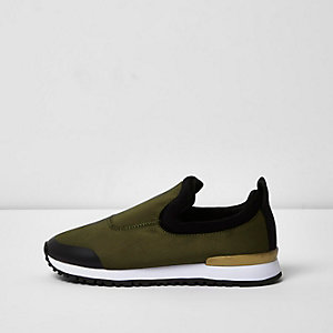 Khaki slip on runner sneakers
