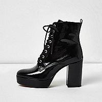 Black patent leather platform heel boots
