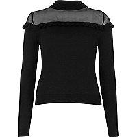 Black sheer panel frill jumper