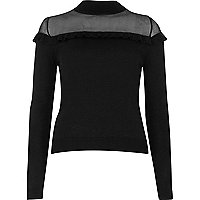 Black sheer panel frill sweater