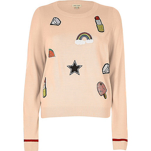 Pink sequin badge jumper