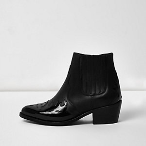 Black leather patent panel western boots
