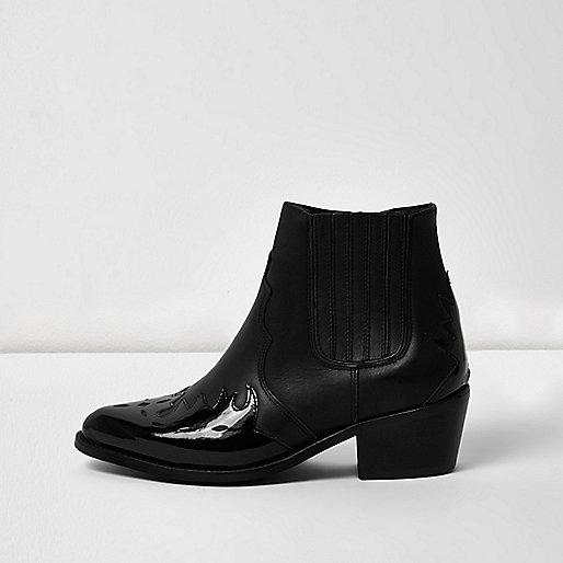 Schwarze Western-Lederstiefel mit Lackledereinsatz