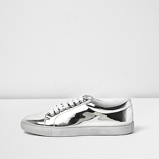 Silver metallic trainers