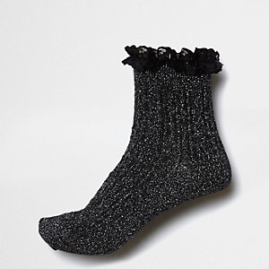 Black sparkly frill cable knit socks