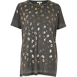 Grey skull metallic print boyfriend T-shirt
