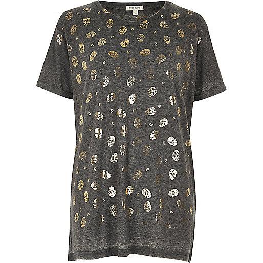 T-shirt boyfriend gis imprimé tête de mort métallisée
