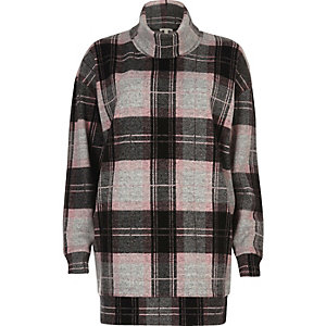 Pink check oversized turtleneck top