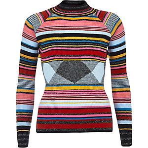 Navy stripe knit turtleneck jumper