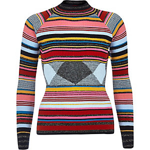 Navy stripe knit turtleneck sweater