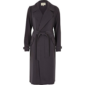 Charcoal grey tie waist duster trench coat