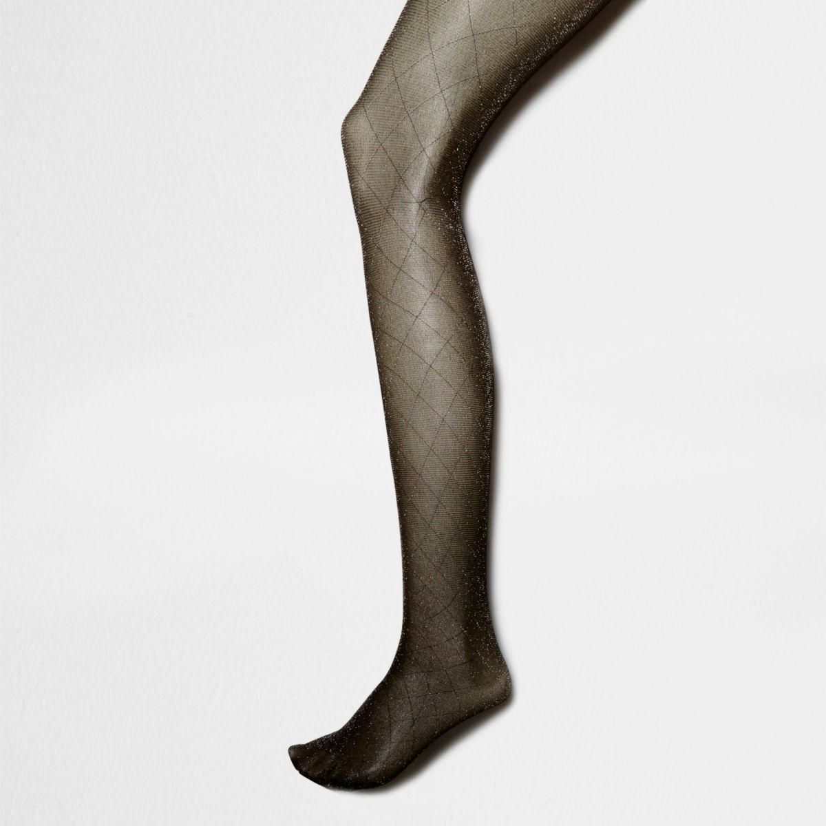 Goudkleurige panty's met ruitmotief