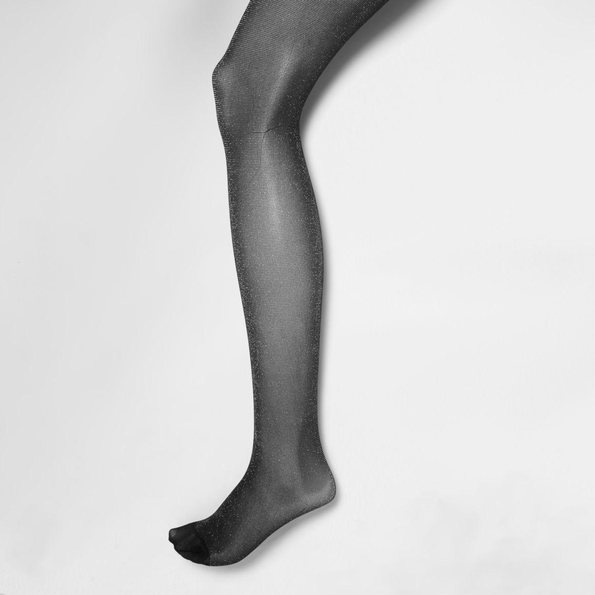 Silver glitter tights