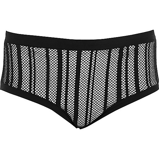 Plus black mesh bikini bottoms