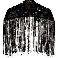 Black beaded tassel cape