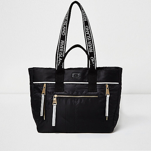 Black nylon zip tote bag
