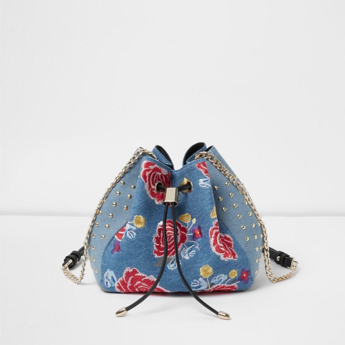 Blue Denim Floral Embroidered Duffle Bag - Shoulder Bags - Bags U0026 Purses - Women