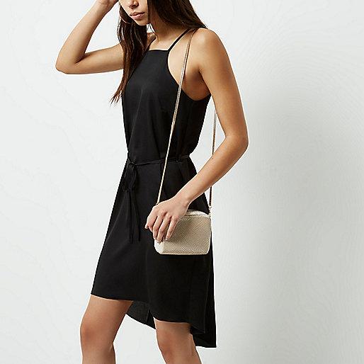 Mini sac à main crème en velours à bandoulière chaîne