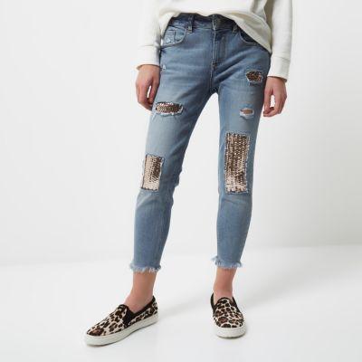 RI Petite Alannah relaxte skinny jeans met lovertjes