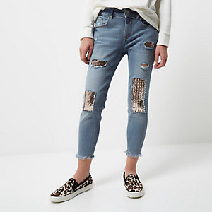 RI Petite - Alannah relaxte skinny jeans met lovertjes