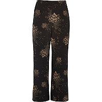 Plus black floral wide leg trousers