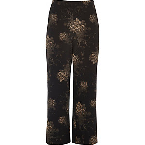 Plus black floral wide leg trousers