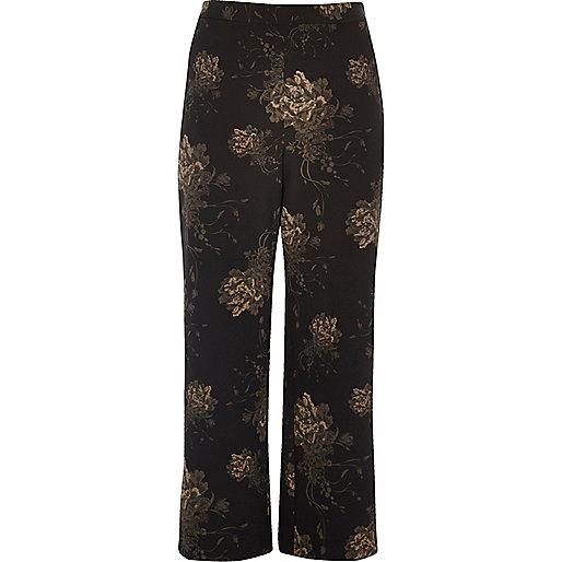 Pantalon large Plus à fleurs noir