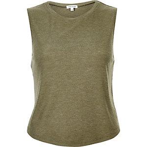 Khaki green scoop neck tank top