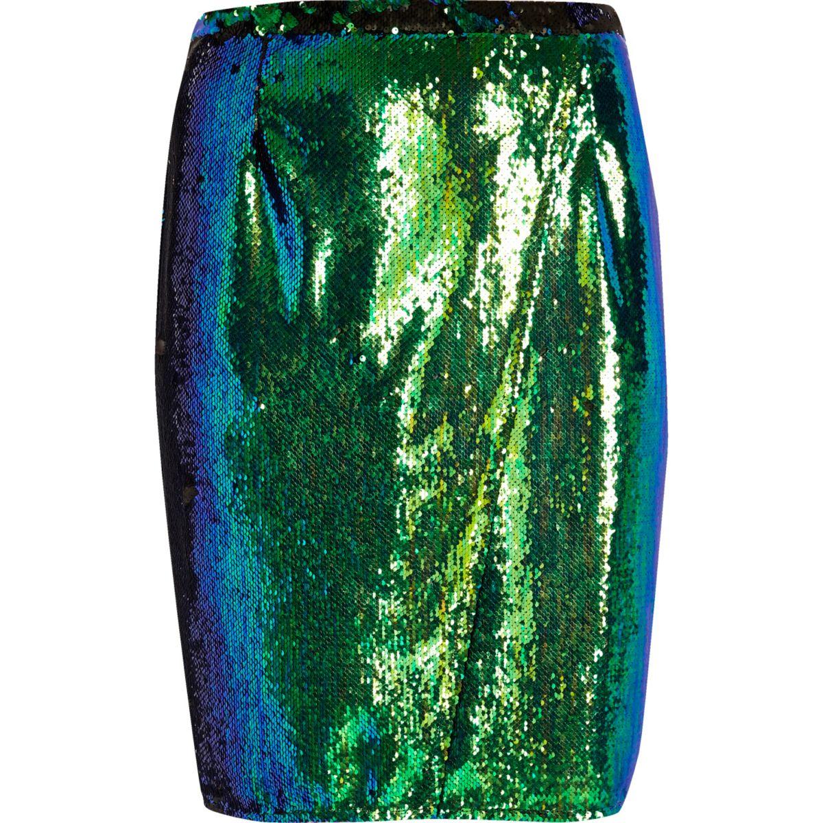 Plus – Jadegrüner, paillettenverzierter Bleistiftrock