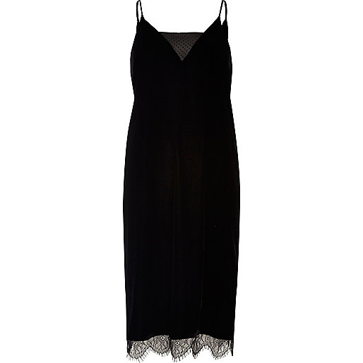Black velvet and lace cami dress