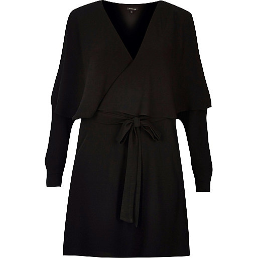 Black long sleeve frill tea dress