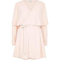 Blush pink wrap cape dress