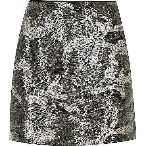 Khaki camo print sequin mini skirt
