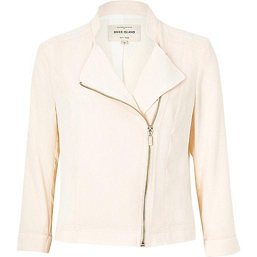 Cream sheer biker jacket