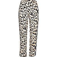 Leopard print soft tapered pants
