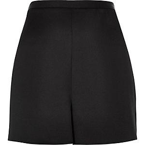 Black high rise satin shorts