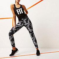 Legging de gym RI Active noir imprimé camouflage