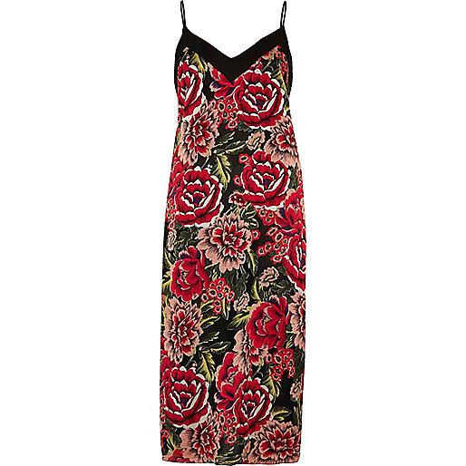 Robe mi-longue à imprimé floral rose à fines bretelles
