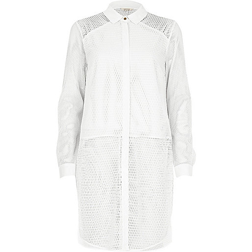 White mesh panel longline shirt
