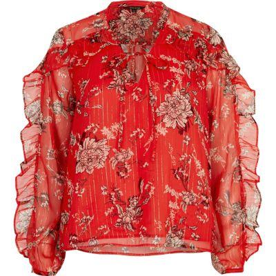 Rode blouse met bloemenprint en ruches