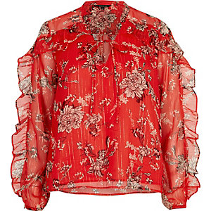 Red floral print frill blouse