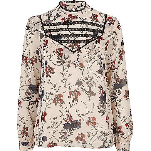 Cream print bib blouse