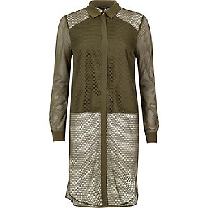 Khaki green mesh panel longline shirt