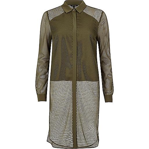 Khaki green mesh panel longline shirt