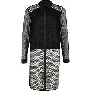 Black mesh panel longline shirt