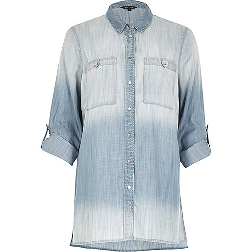 Faded blue oversized denim shirt