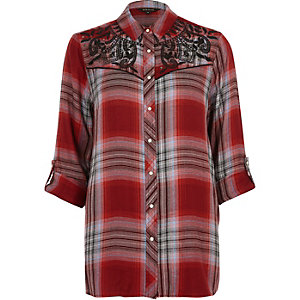 Red check western embroidered shirt